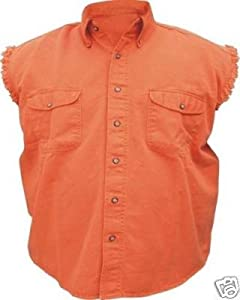 com: Mens Sleeveless Denim Twill Biker Shirt Orange 2XL: Toys & Games