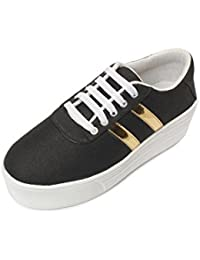Meriggiare Women Black Canvas Sneakers