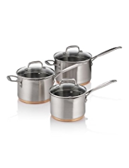 3 Piece Stainless Steel Copper Base Saucepan Set
