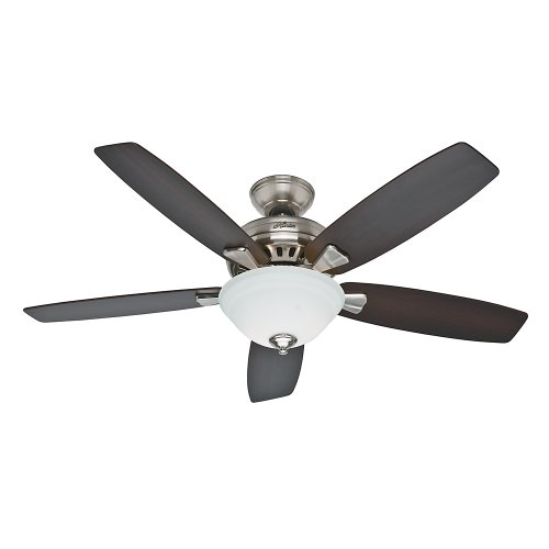 Hunter Fan Company 53175 Banyan 52-Inch Brushed Nickel Ceiling Fan with Five Dark Walnut/Medium Walnut Blades and a Light Kit (52 Inch Hunter Ceiling Fans compare prices)