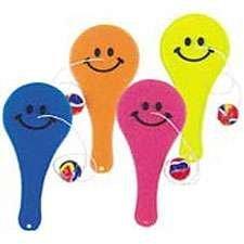 Transparent Smile Paddle Balls - 12 per unit