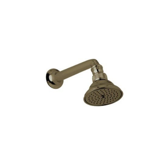 Rohl C5504TCB 3-1/16-Inch Diameter Single Function Perletto Country Bath Style Swiveling Showerhead with 7-1/8-Inch Shower Arm, Tuscan Brass (Swiveling Shower Head compare prices)