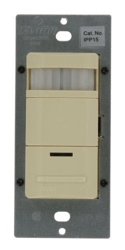Leviton Ipp15-1Li Decora Manual-On Occupancy Sensor, Single Pole, 3-Way Or More Applications, 180-Degree Field Of View, Ivory