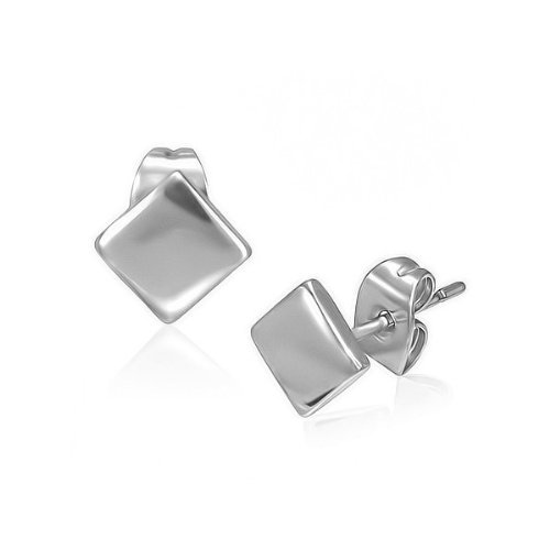 Urban Male Plain Stainless Steel Diamond Shape Stainless Steel Stud Earrings 6mm