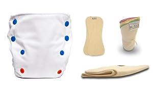 BabyKicks 4 Piece 3G Pocket Diaper Trial Pack, White, One Size