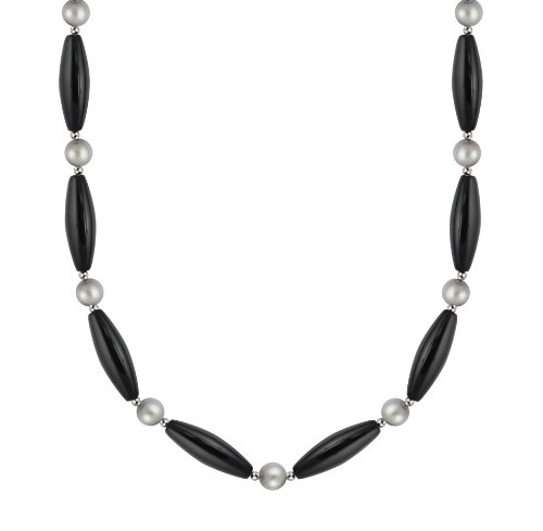 30x10mm Black Agate and 8-8.5mm Freshwater Cultured Platinum Grey Pearl Necklace, 18