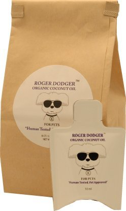 Organic Coconut Oil for Pets, Roger Dodger, Dogs, Cats, and Animals 8 Ct. Home and Travel Packets Per Bag 10 Ml Each Pack
