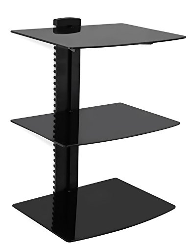 Mount-It! MI-893 Floating Wall Mounted Shelf Bracket Stand for AV Receiver, Component, Cable Box, Playstation4, Xbox1, DVD Player, Projector, 53 Lbs Capacity, 3 Shelves, Tinted Tempered Glass (Video Console Organizer compare prices)
