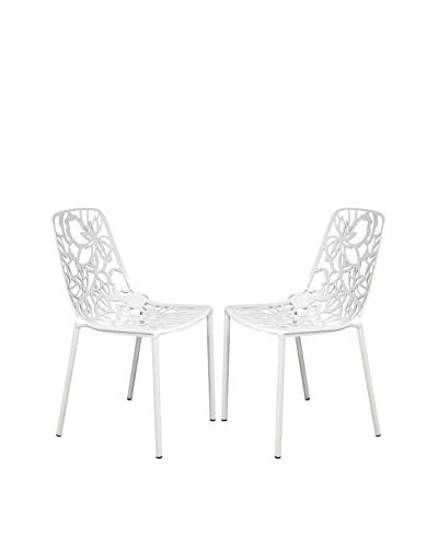 LeisureMod Set of 2 Modern Devon Armless Aluminum Chairs, White