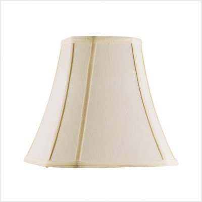 "Shantung Silk Square Cut Corner Bell Lamp Shade in Off White Size: 13.5"" H x 18"" W x 18"" D"