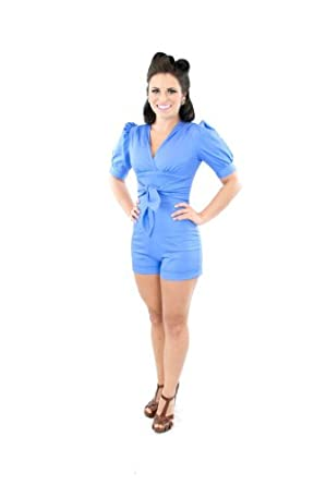 Click Here For fair Size Amazon.com: Queen of Heartz Periwinkle Blue Black Drew Women's Mad Men Pinup Vintage Retro Rockabilly Swim Cruise Romper XS SM MD LG XL 2X 3X: Clothing