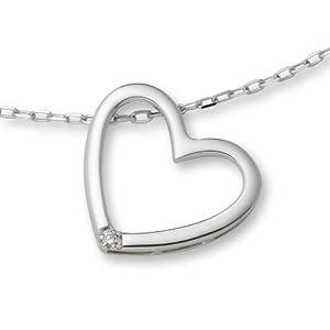 Miore Damen-Halskette mit Herzanhänger 925 Sterling Silber und Brillant 0.01ct 45cm MSL001N