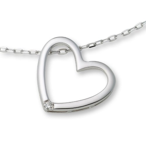 0.01ct Diamond Necklace 925 Sterling Silver Diamond Heart Pendant 45cm Chain + extender by Miore MSL001N