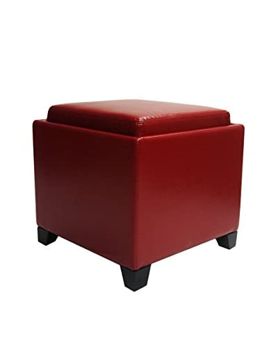 Armen Living Contemporary Storage Ottoman with Tray, Red