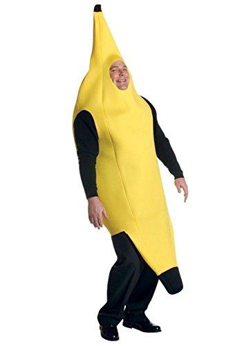 [Fun Deluxe Adult Yellow Banana Costume Fruit Halloween Mens Ladys Plus Size XXL] (Banana Deluxe Adult Costumes)