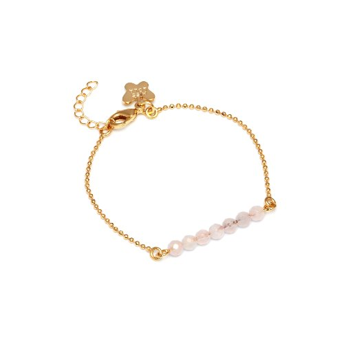 Miss Lola 'Daffodil' Bracelet with a Row of 7 Faceted Rose Quartz Beads