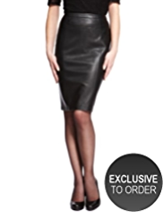 Petite Faux Leather Panelled Skirt