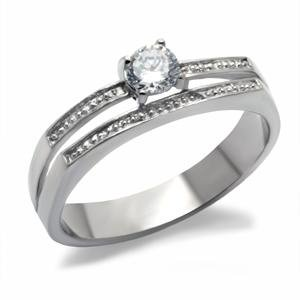 NEVER FADE - Stainless Steel Round Cut CZ Split Shank Engagement Ring
