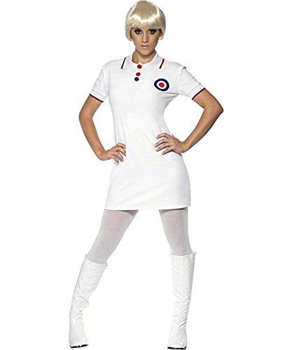 Smiffys Sixties 1960ziger Mod Kostüm Damen Minikleid mit Mod Target weiß - L