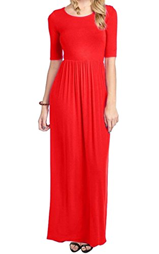Mea Women's Plus Size Comfy Regular O-Neck Full Length Maxi Dress with Elastic Waistband,Red XXL