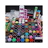 Coscelia Acrylic Nail Set with 78 Acrylic Powder Glitter Mini-ball Velvet and 120ml Acrylic Liquid Nail Art Design Kit (Color: 2001)