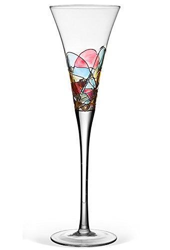 Antoni Barcelona Hand-Painted Champagne Flute – Unique Gift for Wedding, Anniversary, Engagement, Newlyweds, Bridesmaid, Bridal Shower, Groom, Couples – Limited Toasting Glasses for Her & Him, Set of 1