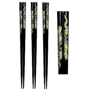 Japanese Black Dragon Set of Chopsticks