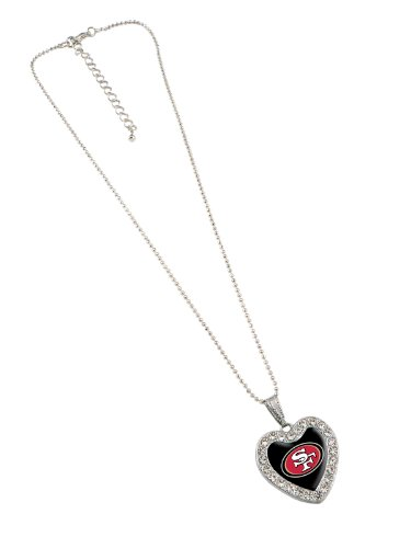 NFL San Francisco 49ers Reversible Crystal Heart Pendant with 16