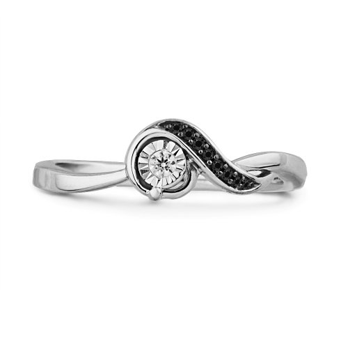 Platinum Palted Sterling Silver Black And White Round Diamond Twisted Promise Ring (1/10 cttw)