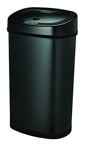 Nine Stars DZT-50-9BK Stainless Steel Motion Sensor Trash Can, 13.2 gallon, Black