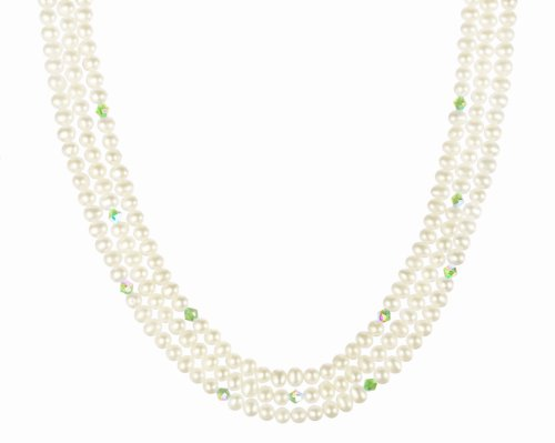 Gold Plated Sterling Silver Clasp with Crystallized Swarovski Elements AB Bicone August Birthstone Peridot Color and White Freshwater Cultured Pearl Beaded Necklace