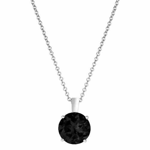 DivaDiamonds Platinum Round Onyx Solitaire Pendant w/18 Inch Solid Platinum Rope Chain