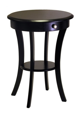 31Jh4NI0fnL Cheap Winsome Wood Round Table with Drawer and Shelf, Black