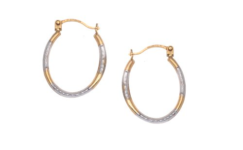 Diamond Hoop Earrings in 9ct 2-Colour Gold