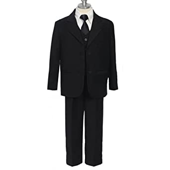 SIZE: S - Boys Black Suit 5 Pc Black Dress Suit with Black Tie