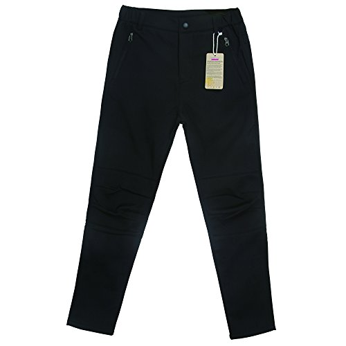 Sidiou Group Addensare delle donne in pile foderato impermeabile sci Soft Shell pantaloni esterna traspirante 100% poliestere solido Camping Escursioni invernali di sci (M, Nero)