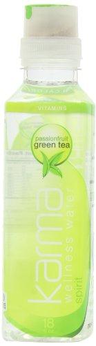 Karma Wellness Water Spirit Passionfruit Green Tea, 18 Fl. Oz, Bottles, 12 Count