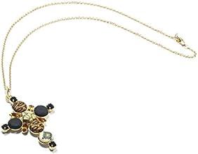 Dandelion Firenze, Collana lunga con ciondolo a croce con bottoni e cristalli