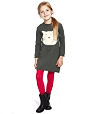 Pure Cotton Knitted Cat Dress with Tights