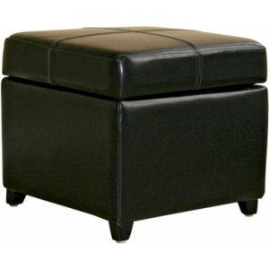 Biondello Square Leather Storage Ottoman - Black