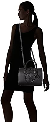 Guess Korry Box Satchel, Sacs à Main Femme, Noir (Nero), Taille Unique