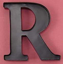 Monogram Letter 'R' Wall Wine Cork Holder in Black Metal