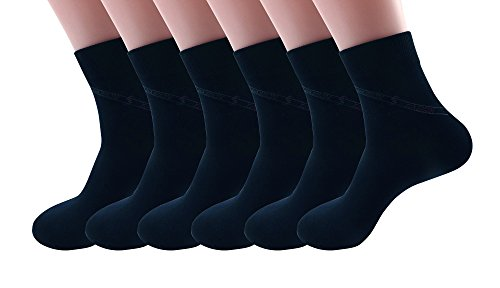 Silkworld Men'S Bamboo Fiber Boneless Dress Socks Pack Of 6 Dark Blue