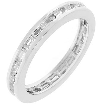 Baguette Clear Cubic Zirconia CZ Silver Tone Eternity Stacker Anniversary Ring (Size 5,6,7,8,9,10)