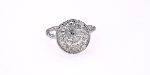 Kiel Mead-Silver Lion Button Ring - 9