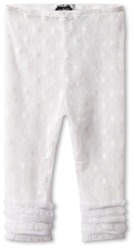 Mud Pie Little Girls' Polka Dot Lace Capri Elastic Legging, White, 4T (Mud Pie White Lace Leggings compare prices)