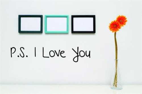 Design with Vinyl Design 157 Ps I Love You - Famous and Inspirational Quotes - Vinyl Wall Decal, 5-Inch By 16-Inch, Black