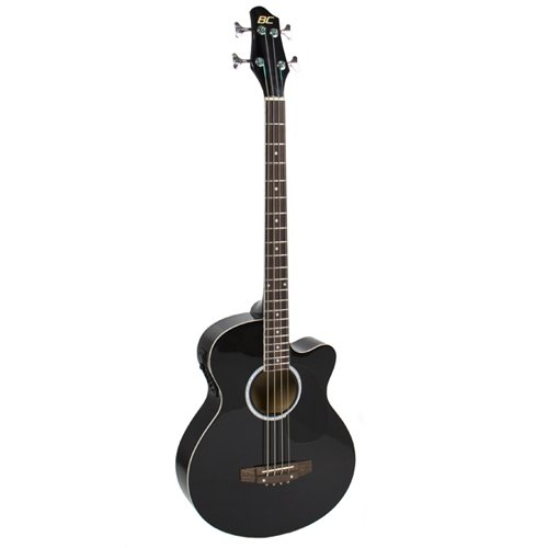 Electric Acoustic Bass Guitar Black Solid Wood Construction With Equalizer New