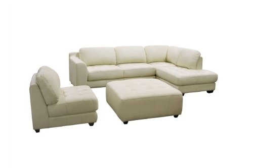 Diamond Sofa ZENRF3PCSECTOTTOE Zen Collection Right Facing Chaise 2PC Sectional with Armless Chair and Square Cocktail Ottoman by Diamond Sofa - Eggshell
