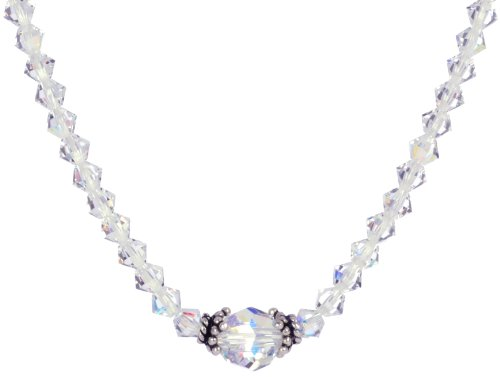 Sterling Silver Crystal Aurora Borealis Swarovski Elements Bicone and Faceted Round Bead Necklace, 16
